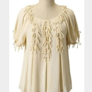 ANTHROPOLOGIE LEIFSDOTTIR CREAM BOW BOUNTY BLOUSE